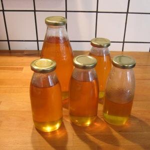 Holundersirup in Flaschen